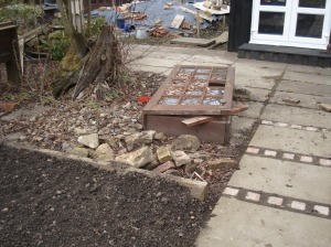 The old cold frame which was to become the new strawberry patch.